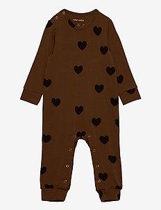 Hearts jumpsuit TENCEL™ - À manches longues - brown