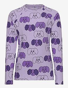 Fluffy dog aop ls tee - dlugi-rekaw - purple