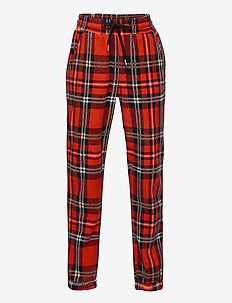 Fleece check trousers - sweatpants - red