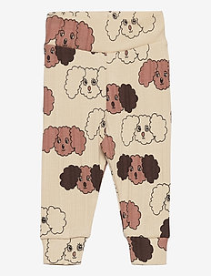 Fluffy dog aop nb leggings - leginsy - beige