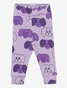 Fluffy dog aop nb leggings - leggings - purple