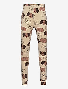 Fluffy dog aop leggings - leginsy - beige