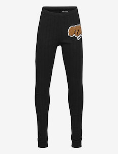 Fluffy dog patch leggings - leginsy - black