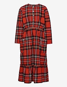 Woven flanell flounce dress - dresses & skirts - red