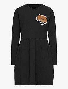 Fluffy dog patch ls dress - sukienki - black