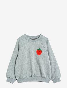 Strawberry emb sweatshirt - sweatshirts - grey melange