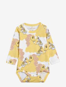 Unicorn noodles aop ls body - langärmelig - yellow