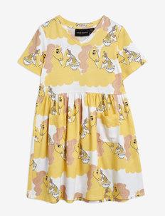 Unicorn noodles aop ss dress - kleider - yellow