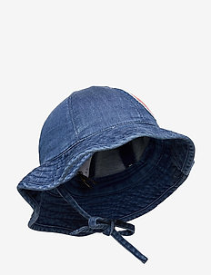 Denim strawberry sun hat - solhatt - blue