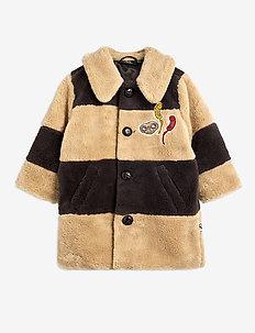 Striped faux fur coat - faux fur - beige