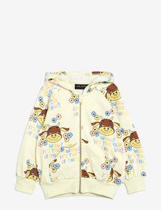 Wow cow aop zip hoodie - kapuzenpullover - offwhite