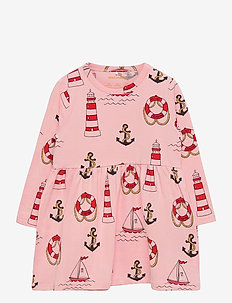 Lighthouse aop ls dress - jurken & rokjes - pink