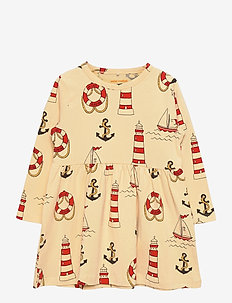 Lighthouse aop ls dress - jurken & rokjes - yellow