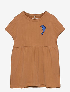 Dolphin emb ss dress - jurken & rokjes - brown