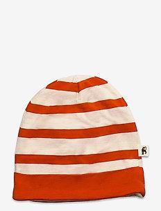 Stripe beanie - hatte og handsker - red