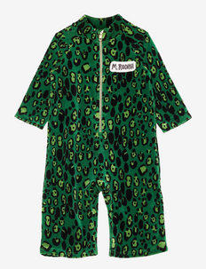 Leopard velour onesie - langärmelig - green