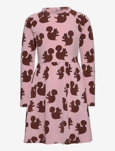 Squirrel aop ls dress - kleider - pink