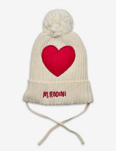 Heart pompom hat - beanie - offwhite