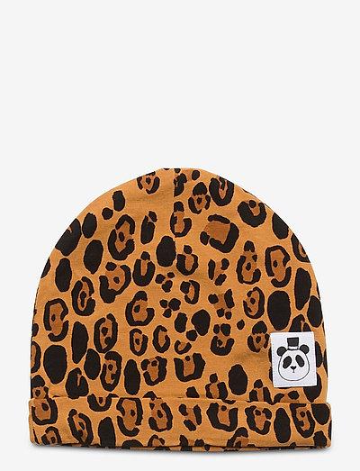 Basic leopard beanie - hatte og handsker - beige