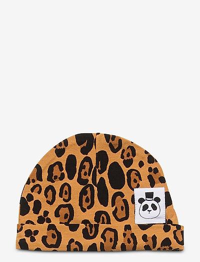 Basic leopard baby beanie - hatte og handsker - beige