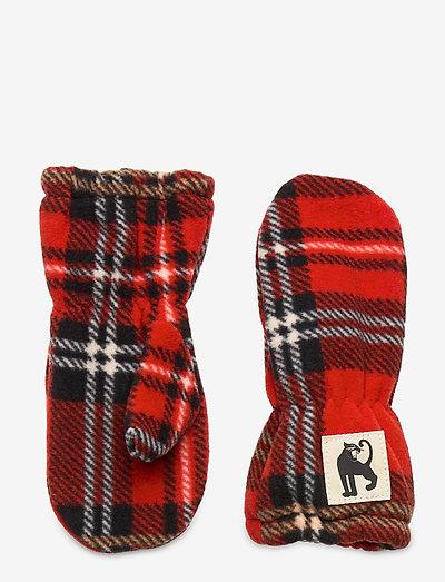 Fleece check mittens - hatte og handsker - red