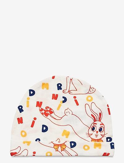 MR rabbit aop baby beanie - hatte og handsker - offwhite