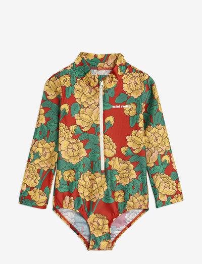 Peonies ls swimsuit - uv-clothing - red