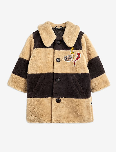 Striped faux fur coat - fausse fourrure - beige