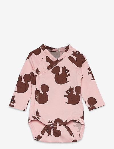 Squirrels aop wrap body - langärmelig - pink