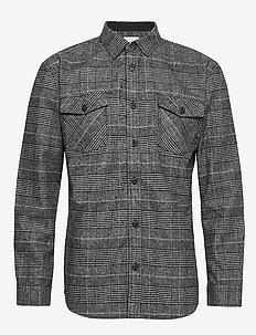 vium - casual skjortor - dark grey mel