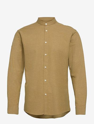 anholt - linnen overhemden - khaki green mel.