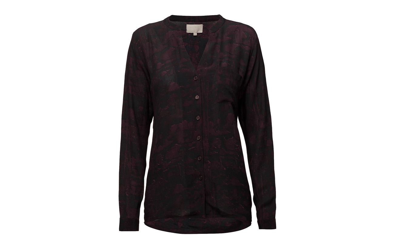 Shirt 100 Minus Lilliana Viscose Shadow Winered Print qwUBpH
