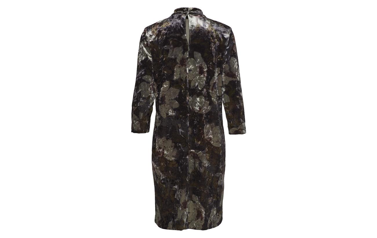 Minus Flower Polyester 5 Velour Riba Dress Print Elastane 95 rq6ptrfgw