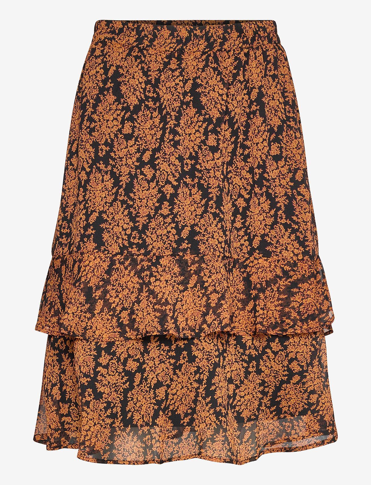 Minus - Leyla skirt - midinederdele - orange sunset flower print - 0