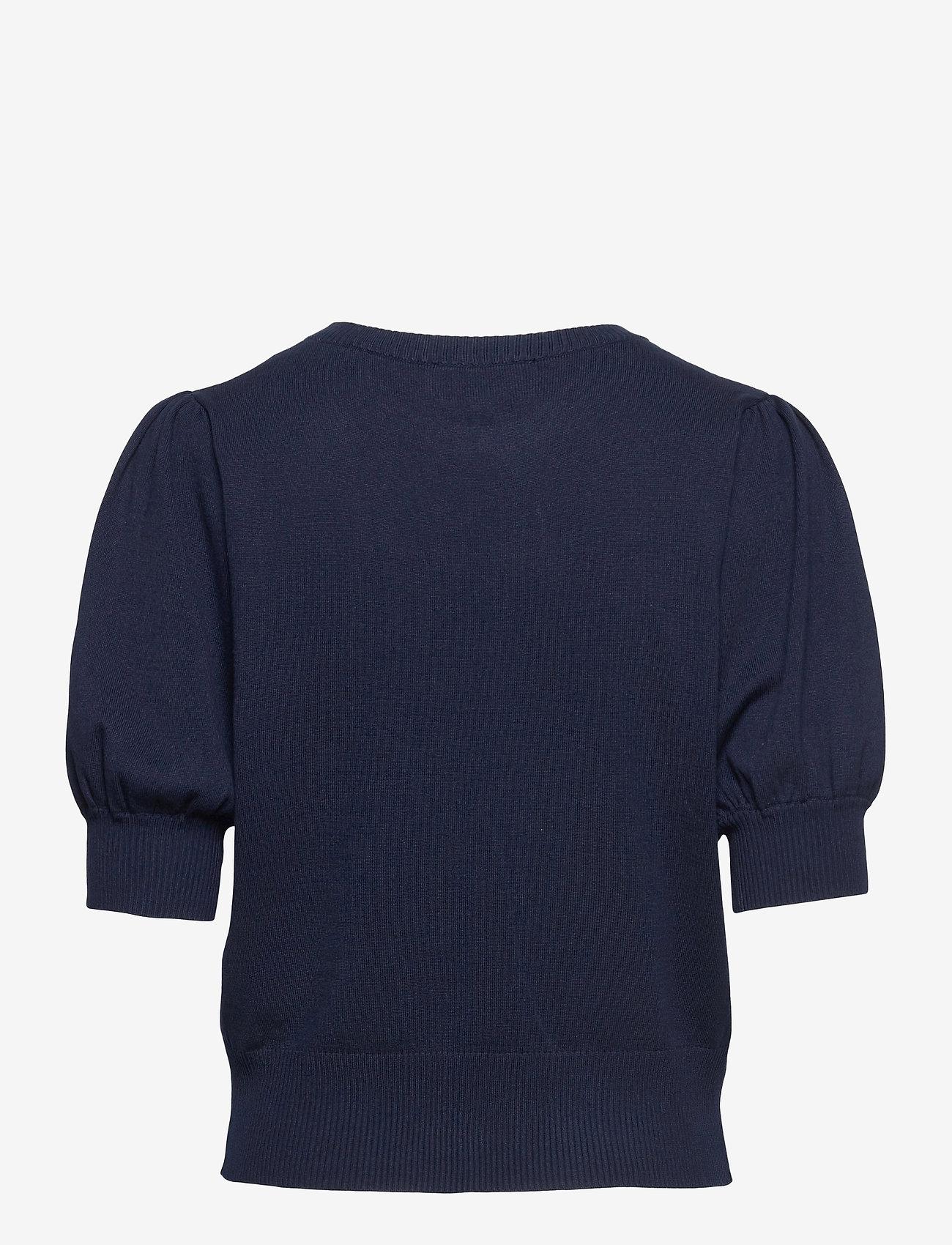 Minus - Liva knit tee - strikkede toppe - black iris solid - 1