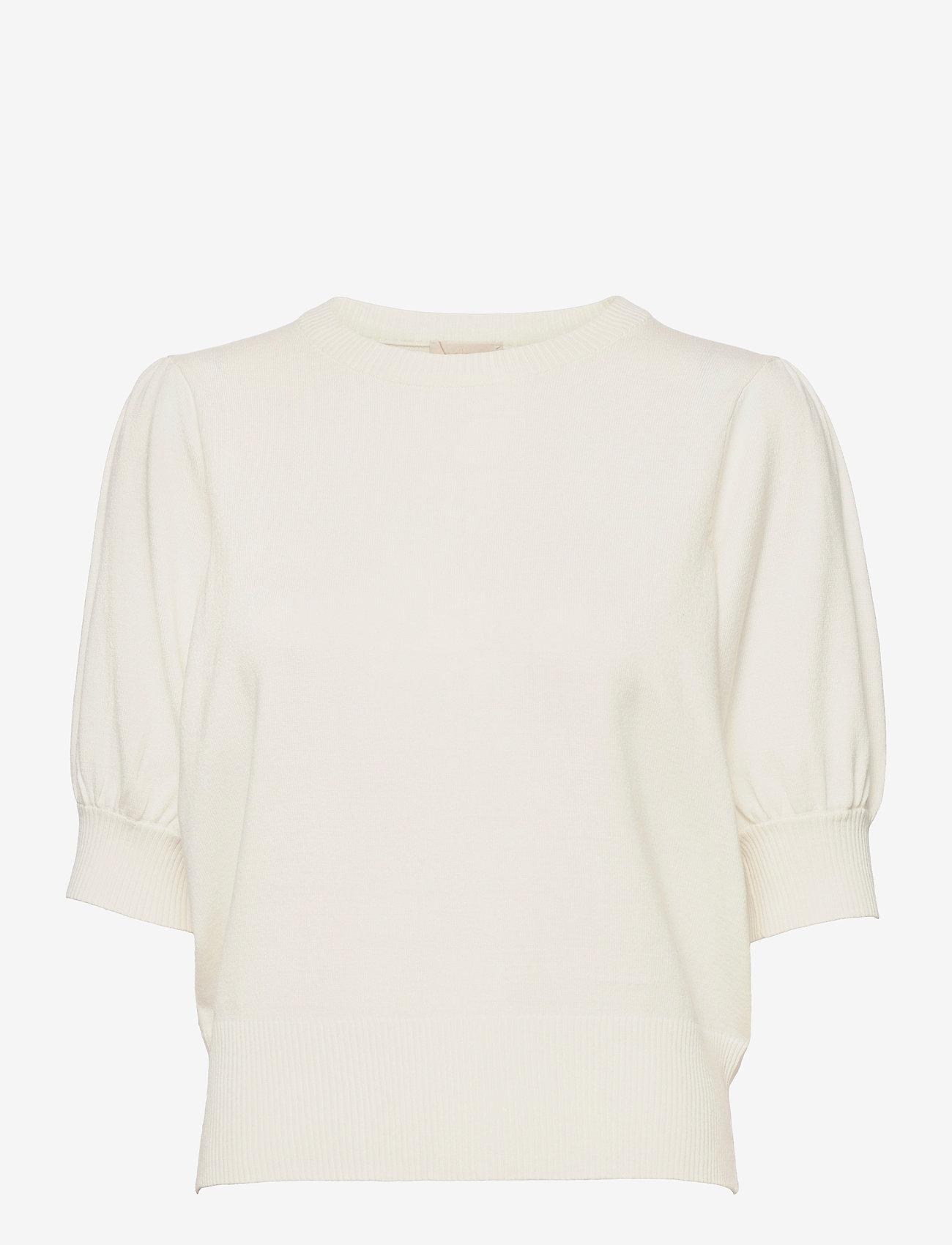 Minus - Liva knit tee - strikkede toppe - broken white - 0