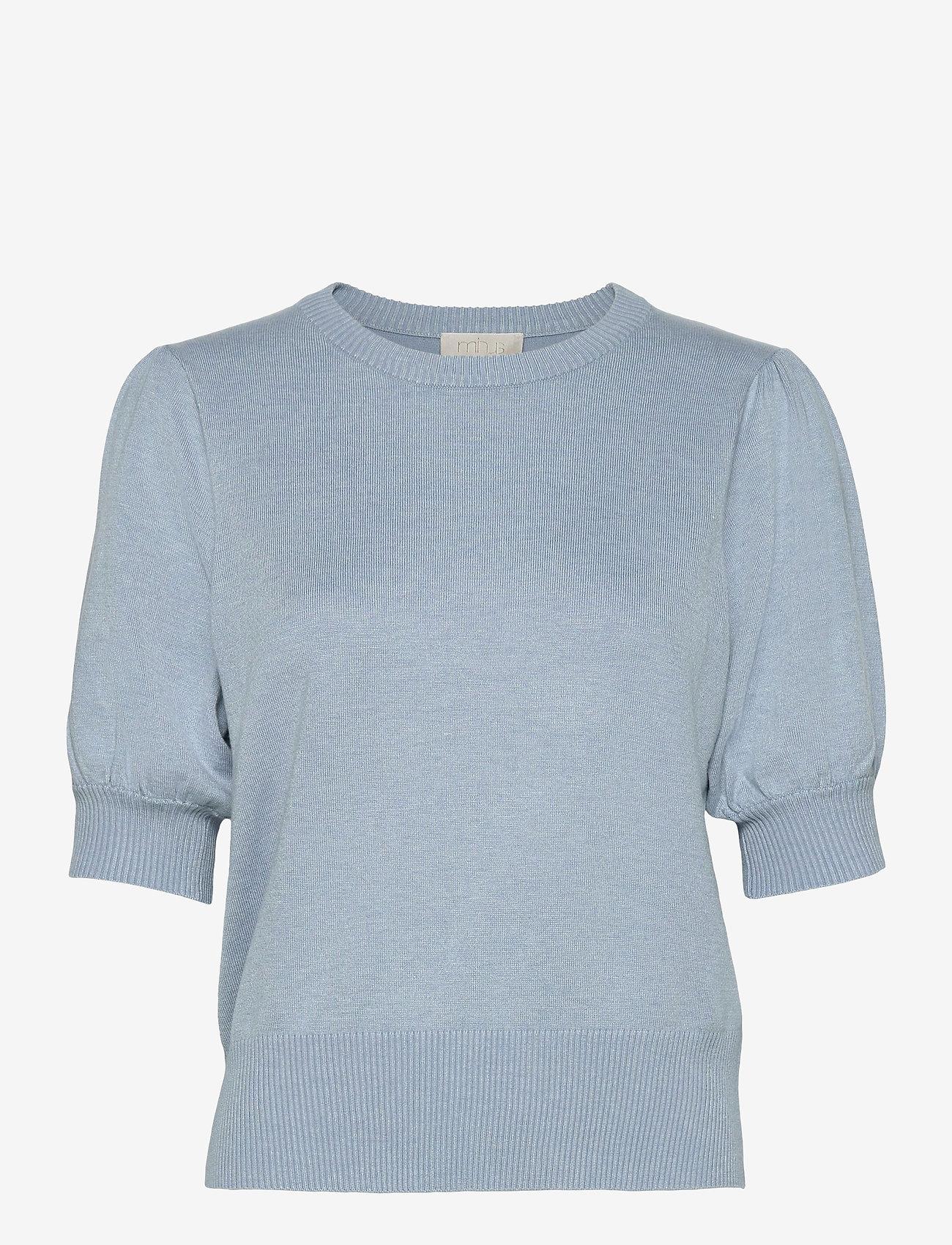 Minus - Liva knit tee - strikkede toppe - dusty blue melange - 0