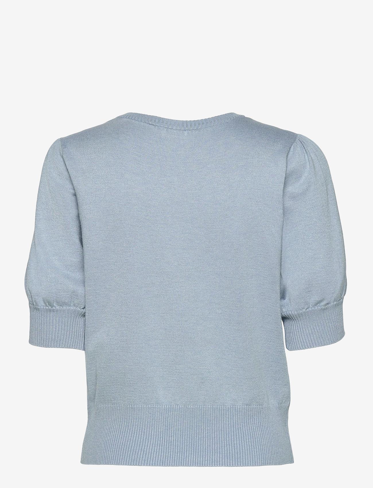 Minus - Liva knit tee - strikkede toppe - dusty blue melange - 1