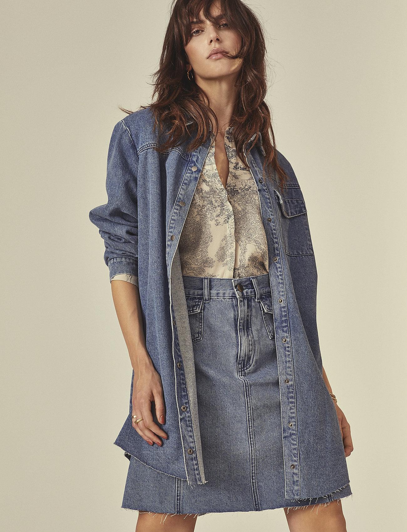 Minus - Lucca denim skirt - jupes en jeans - denim melange - 0