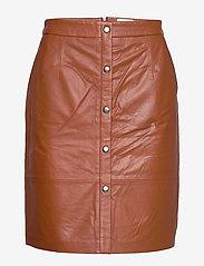 Minus - Torina leather skirt - short skirts - ginger bread - 1