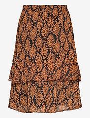 Minus - Leyla skirt - midinederdele - orange sunset flower print - 1