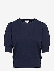Minus - Liva knit tee - strikkede toppe - black iris solid - 0