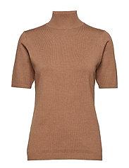 Lima roll neck knit - TOBACCO MELANGE