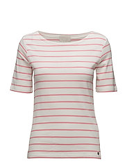 Alina tee - CLOUD DANCER/PINK SHELL STRIPE