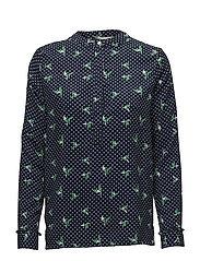 Frigg blouse - ORGAMI PRINT GREEN