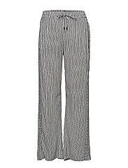 Sigbritt pants - CLOUD DANCER/BLACK IRIS STRIPE