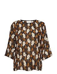 Dora blouse - PLISSE INKA GOLD FLOWER PRINT