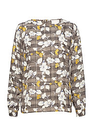 Millea blouse - CHECKERED CURRY FLOWER PRINT
