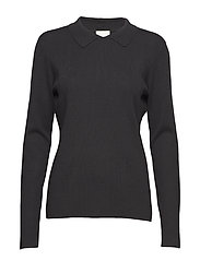 Jill polo knit - BLACK