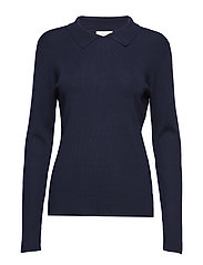 Jill polo knit - BLACK IRIS SOLID
